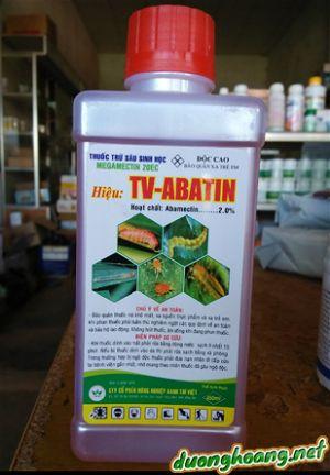 Hiệu TV-ABATIN,thuốc trừ sâu sinh học MEGAMECTIN 20EC, trị sâu cuốn lá, sâu xanh, giòi đục, sâu vẽ bùa