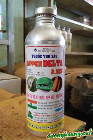 appen delte 2.8EC, đặc trị: bọ xít muỗi, rệp sáp, sâu phao, thuốc sâu gôc cúc tổng hợp, tác dụng tiếp xúc, vị độc.