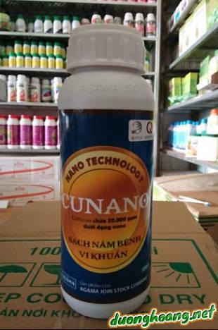 Cunano là phân bón có chứa thành phần Đồng (cu) dưới dạng nano, Cunano có thể ngăn ngừa các loại nấm bệnh và vi khuẩn, trị tảo đỏ, rong rêu, đốm lá Tiêu.