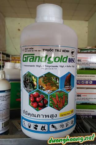 Grand gold 80SC, Hexaconazole, Tricyclazole, Sulfur, trị rỉ sắt, nấm hồng, khô cành, khô quả, nứt dây, lở cổ rễ, thối củ trên khoai lang, bệnh khô vằn.