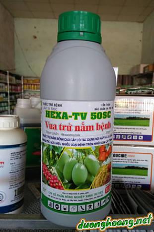 hexa tv 50sc, trừ bệnh: Khô vằn, đạo ôn, lem lép hạt, rỉ sắt, nấn hồng, khô quả, khô cành, thán thư, bạc lá, thối lở cổ rễ, thối dây, thán thư, phấn trắng, sương mai, nám trái