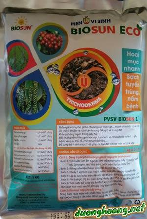 Men ủ vi sinh BIOSUN ECO, hoai mục nhanh, sạch tuyến trùng và nấm bệnh, đối kháng nấm: Phytophthora sp, Fusarium sp, gây bệnh vàng lá, thối rễ, chết nhanh.