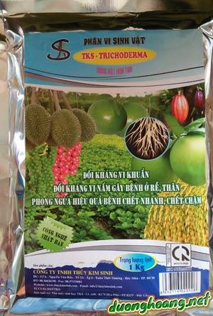 """Phân vi sinh vật """"Thủy Kim Sinh (TKS)"""" Trichoderma dạng bột hòa tan, nấm trichoderma, khống chế nấm Phytopthora, palmivora, ngừa bệnh héo rũ, héo tươi."""