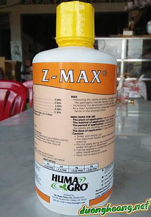 phân bón lá cao cấp z - max: Zn: 8%; S: 5%; Mn: 2%; Cu: 0.5%; Hữu cơ: 0.3%;...có tác dụng phuc hồi, cải thiện sức sống, tăng cường sự miễn dịch, ức chế mầm bệnh gây hại